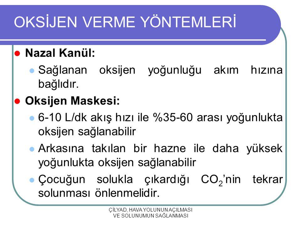 ÇİLYAD, HAVA YOLUNUN AÇILMASI VE SOLUNUMUN SAĞLANMASI OKSİJEN VERME YÖNTEMLERİ Nazal Kanül: Sağlanan oksijen yoğunluğu akım hızına bağlıdır. Oksijen M