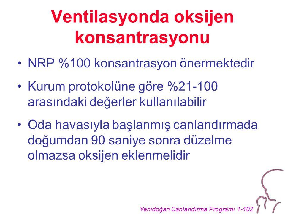 Yenidoğan Canlandırma Programı 1-102 Ventilasyonda oksijen konsantrasyonu NRP %100 konsantrasyon önermektedir Kurum protokolüne göre %21-100 arasındaki değerler kullanılabilir Oda havasıyla başlanmış canlandırmada doğumdan 90 saniye sonra düzelme olmazsa oksijen eklenmelidir