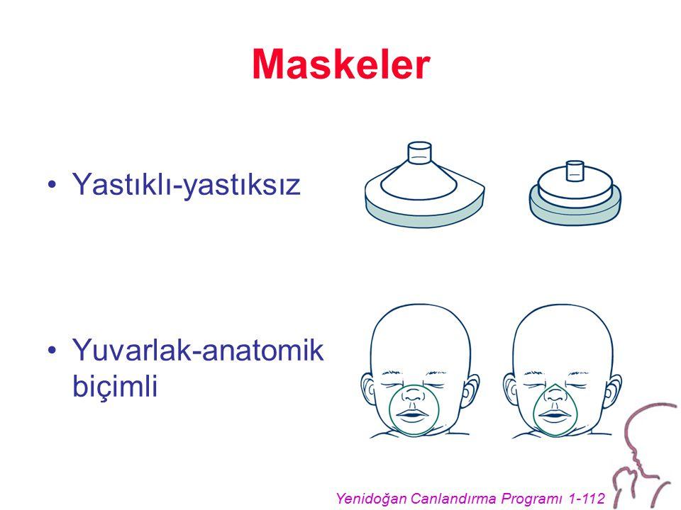 Yenidoğan Canlandırma Programı 1-112 Maskeler Yastıklı-yastıksız Yuvarlak-anatomik biçimli