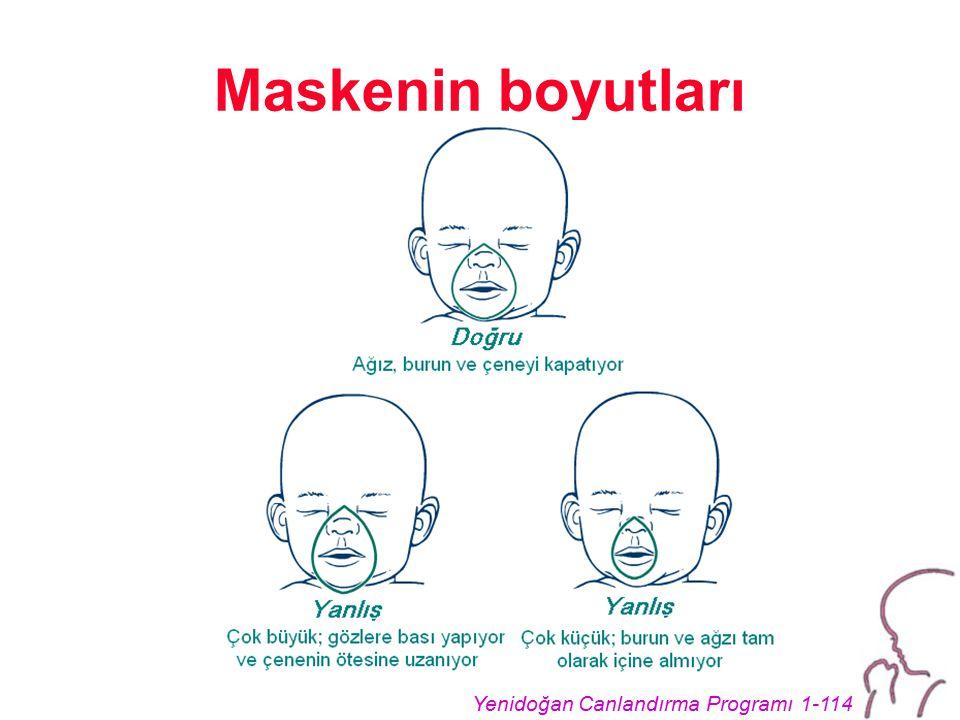 Yenidoğan Canlandırma Programı 1-114 Maskenin boyutları