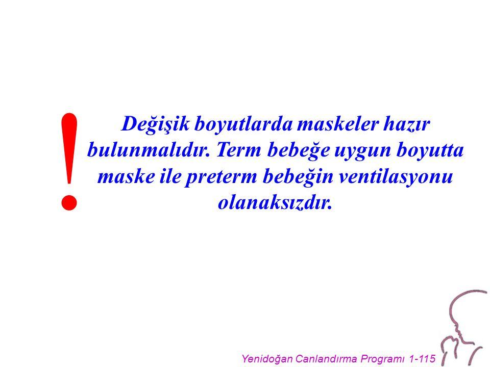 Yenidoğan Canlandırma Programı 1-115 Değişik boyutlarda maskeler hazır bulunmalıdır.
