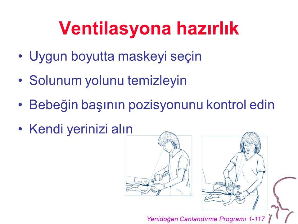 Yenidoğan Canlandırma Programı 1-117 Ventilasyona hazırlık Uygun boyutta maskeyi seçin Solunum yolunu temizleyin Bebeğin başının pozisyonunu kontrol edin Kendi yerinizi alın