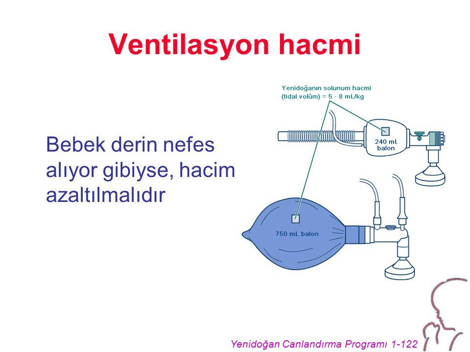 Yenidoğan Canlandırma Programı 1-122 Ventilasyon hacmi Bebek derin nefes alıyor gibiyse, hacim azaltılmalıdır