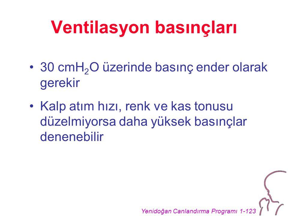 Yenidoğan Canlandırma Programı 1-123 Ventilasyon basınçları 30 cmH 2 O üzerinde basınç ender olarak gerekir Kalp atım hızı, renk ve kas tonusu düzelmiyorsa daha yüksek basınçlar denenebilir