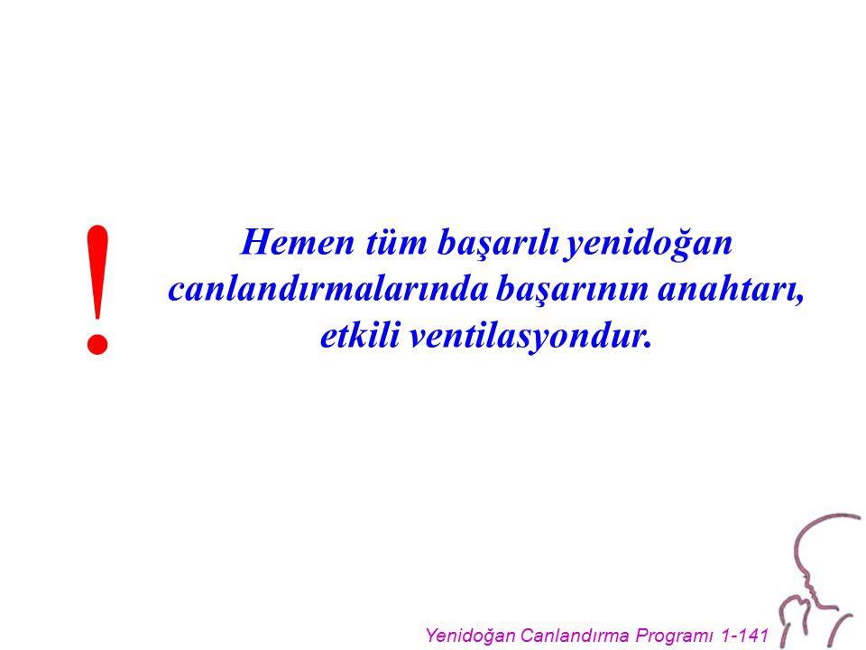 Yenidoğan Canlandırma Programı 1-141 Hemen tüm başarılı yenidoğan canlandırmalarında başarının anahtarı, etkili ventilasyondur.