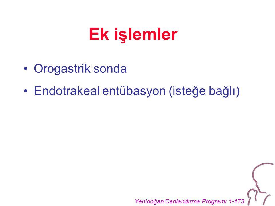 Yenidoğan Canlandırma Programı 1-173 Ek işlemler Orogastrik sonda Endotrakeal entübasyon (isteğe bağlı)