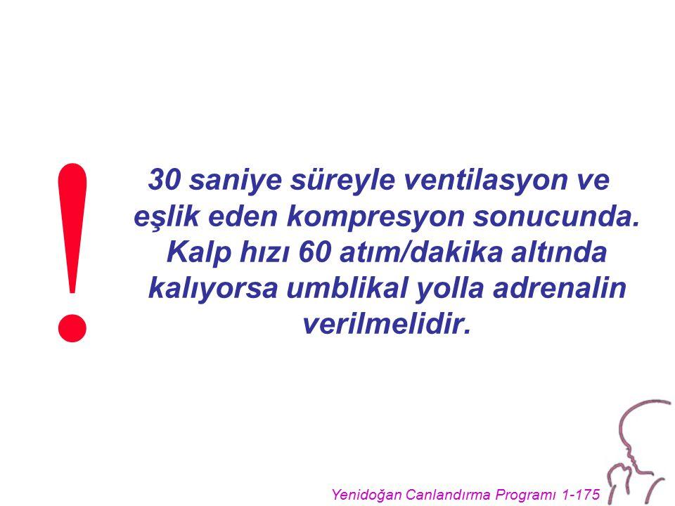 Yenidoğan Canlandırma Programı 1-175 30 saniye süreyle ventilasyon ve eşlik eden kompresyon sonucunda.