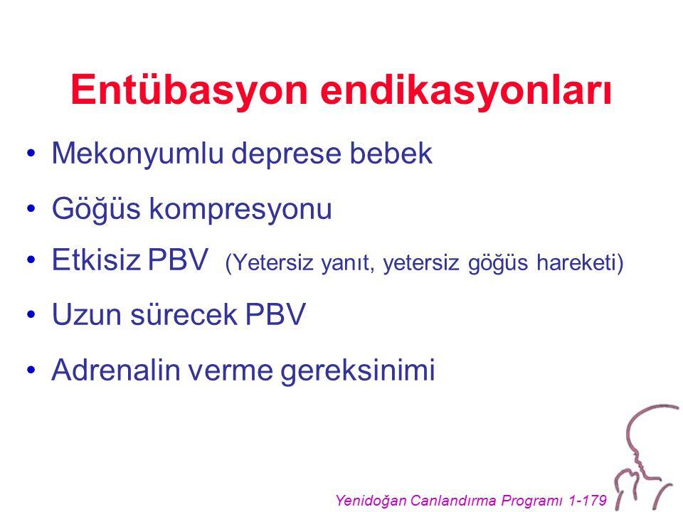 Yenidoğan Canlandırma Programı 1-179 Entübasyon endikasyonları Mekonyumlu deprese bebek Göğüs kompresyonu Etkisiz PBV (Yetersiz yanıt, yetersiz göğüs hareketi) Uzun sürecek PBV Adrenalin verme gereksinimi