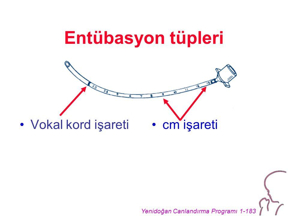 Yenidoğan Canlandırma Programı 1-183 Entübasyon tüpleri Vokal kord işareticm işareti