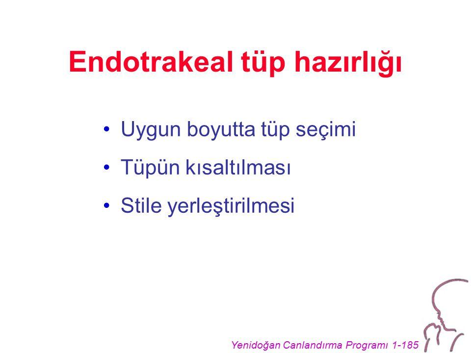 Yenidoğan Canlandırma Programı 1-185 Endotrakeal tüp hazırlığı Uygun boyutta tüp seçimi Tüpün kısaltılması Stile yerleştirilmesi