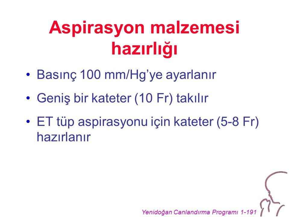 Yenidoğan Canlandırma Programı 1-191 Aspirasyon malzemesi hazırlığı Basınç 100 mm/Hg'ye ayarlanır Geniş bir kateter (10 Fr) takılır ET tüp aspirasyonu için kateter (5-8 Fr) hazırlanır
