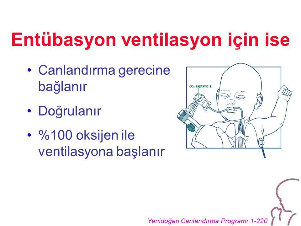 Yenidoğan Canlandırma Programı 1-220 Entübasyon ventilasyon için ise Canlandırma gerecine bağlanır Doğrulanır %100 oksijen ile ventilasyona başlanır
