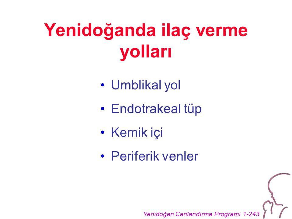 Yenidoğan Canlandırma Programı 1-243 Yenidoğanda ilaç verme yolları Umblikal yol Endotrakeal tüp Kemik içi Periferik venler