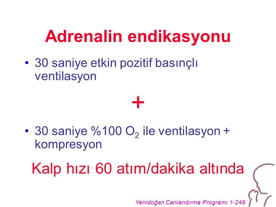 Yenidoğan Canlandırma Programı 1-249 Adrenalin endikasyonu 30 saniye etkin pozitif basınçlı ventilasyon + 30 saniye %100 O 2 ile ventilasyon + kompres