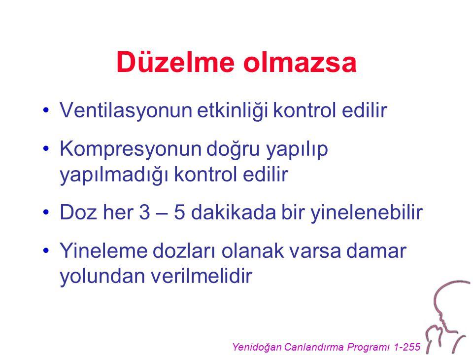 Yenidoğan Canlandırma Programı 1-255 Düzelme olmazsa Ventilasyonun etkinliği kontrol edilir Kompresyonun doğru yapılıp yapılmadığı kontrol edilir Doz