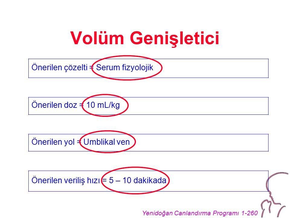 Yenidoğan Canlandırma Programı 1-260 Volüm Genişletici Önerilen çözelti = Serum fizyolojik Önerilen doz = 10 mL/kg Önerilen yol = Umblikal ven Önerile