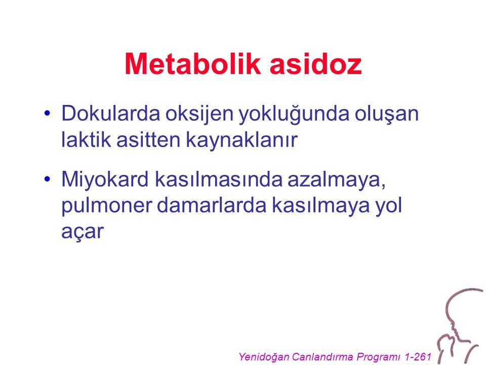 Yenidoğan Canlandırma Programı 1-261 Metabolik asidoz Dokularda oksijen yokluğunda oluşan laktik asitten kaynaklanır Miyokard kasılmasında azalmaya, p