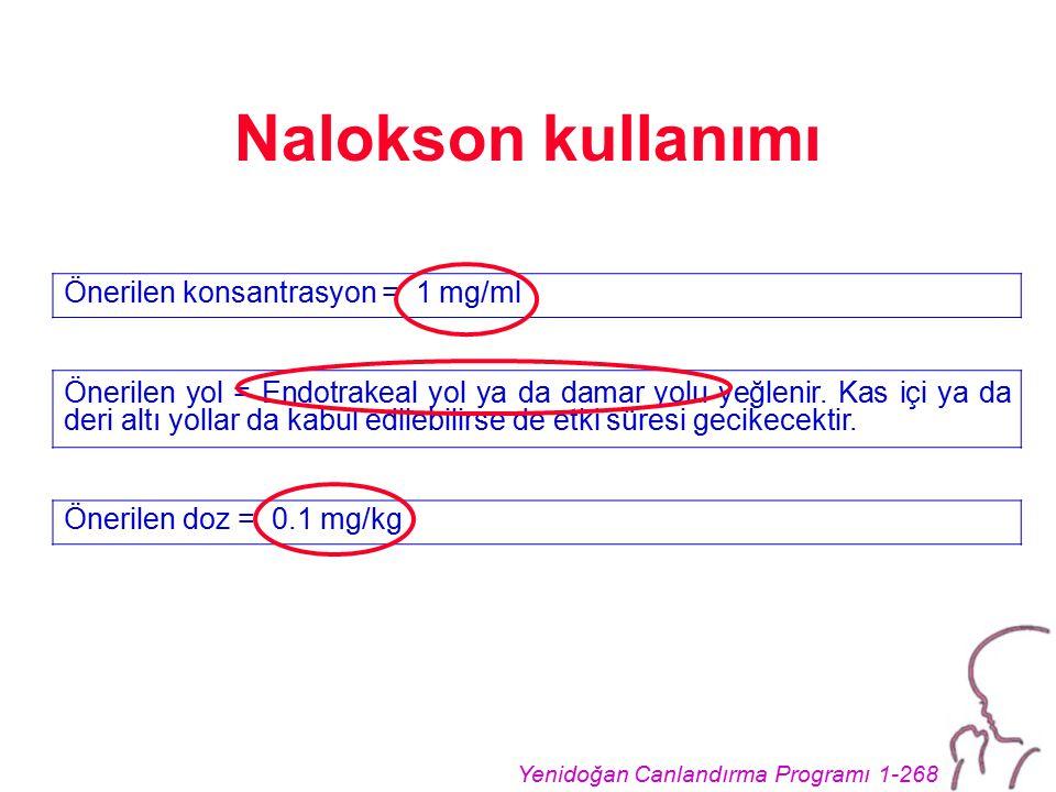 Yenidoğan Canlandırma Programı 1-268 Nalokson kullanımı Önerilen konsantrasyon = 1 mg/ml Önerilen yol = Endotrakeal yol ya da damar yolu yeğlenir. Kas
