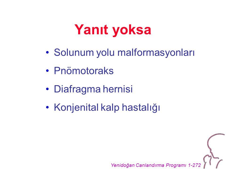 Yenidoğan Canlandırma Programı 1-272 Yanıt yoksa Solunum yolu malformasyonları Pnömotoraks Diafragma hernisi Konjenital kalp hastalığı