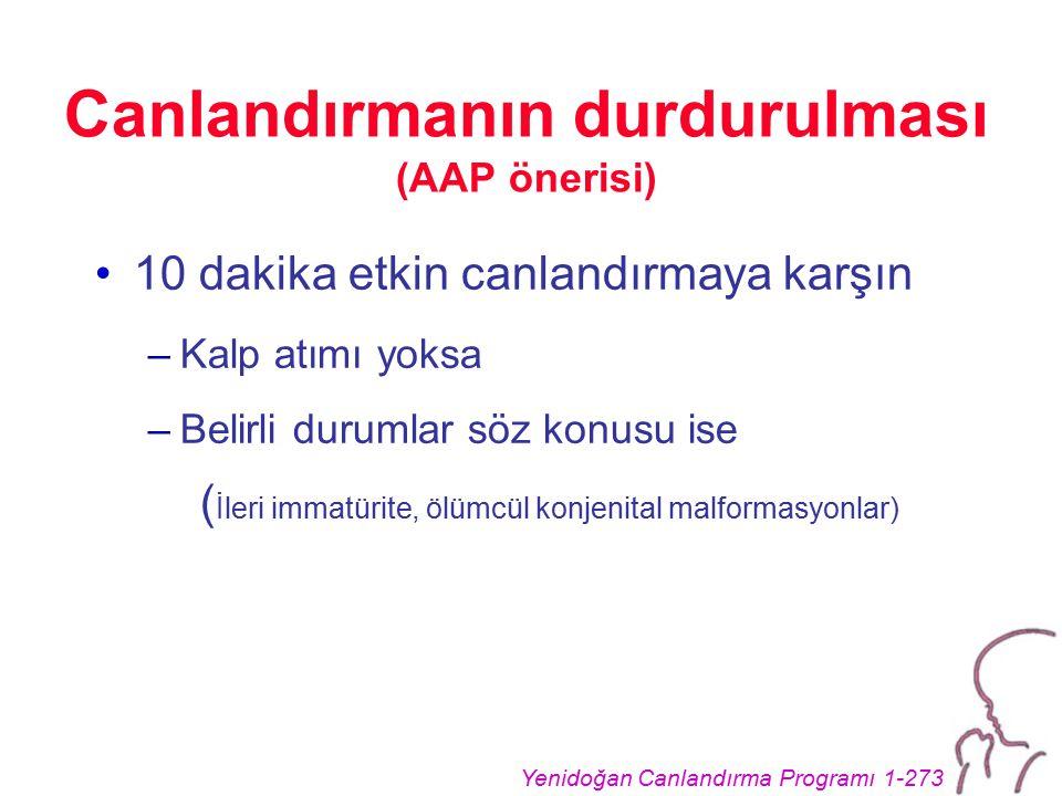 Yenidoğan Canlandırma Programı 1-273 Canlandırmanın durdurulması (AAP önerisi) 10 dakika etkin canlandırmaya karşın –Kalp atımı yoksa –Belirli durumla