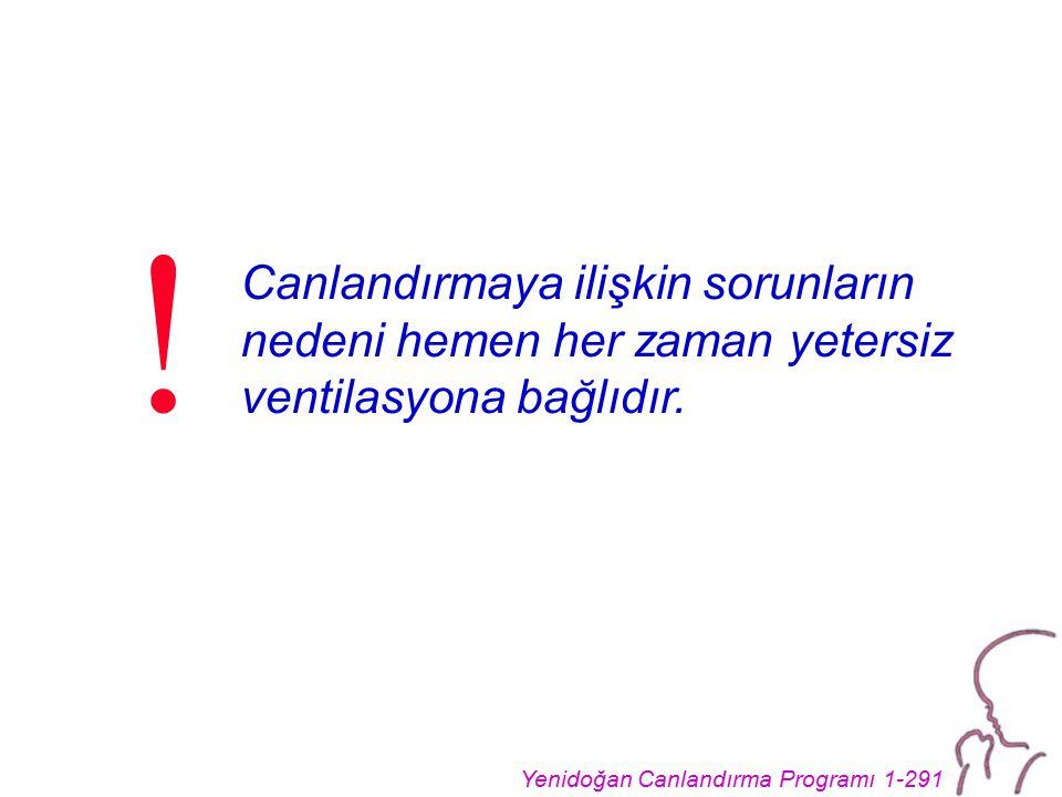 Yenidoğan Canlandırma Programı 1-291 Canlandırmaya ilişkin sorunların nedeni hemen her zaman yetersiz ventilasyona bağlıdır. !