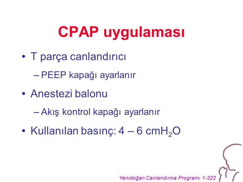 Yenidoğan Canlandırma Programı 1-322 CPAP uygulaması T parça canlandırıcı –PEEP kapağı ayarlanır Anestezi balonu –Akış kontrol kapağı ayarlanır Kullanılan basınç: 4 – 6 cmH 2 O