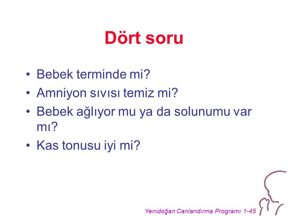 Yenidoğan Canlandırma Programı 1-45 Dört soru Bebek terminde mi.