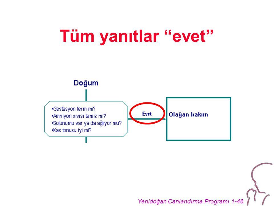 """Yenidoğan Canlandırma Programı 1-46 Tüm yanıtlar """"evet"""""""