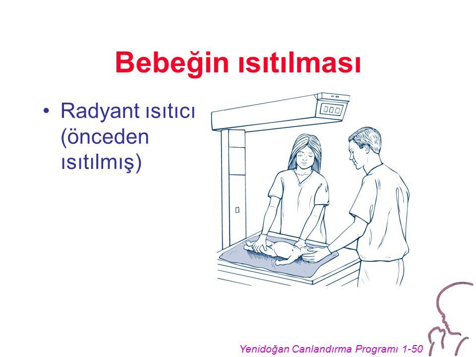 Yenidoğan Canlandırma Programı 1-50 Bebeğin ısıtılması Radyant ısıtıcı (önceden ısıtılmış)