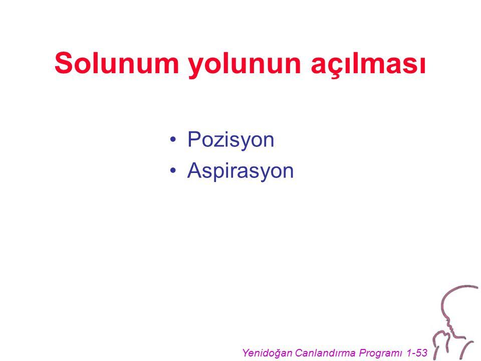 Yenidoğan Canlandırma Programı 1-53 Solunum yolunun açılması Pozisyon Aspirasyon