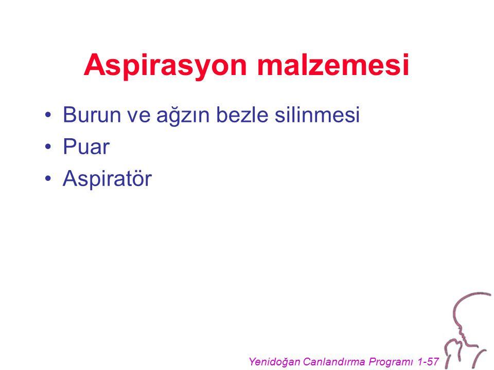 Yenidoğan Canlandırma Programı 1-57 Aspirasyon malzemesi Burun ve ağzın bezle silinmesi Puar Aspiratör