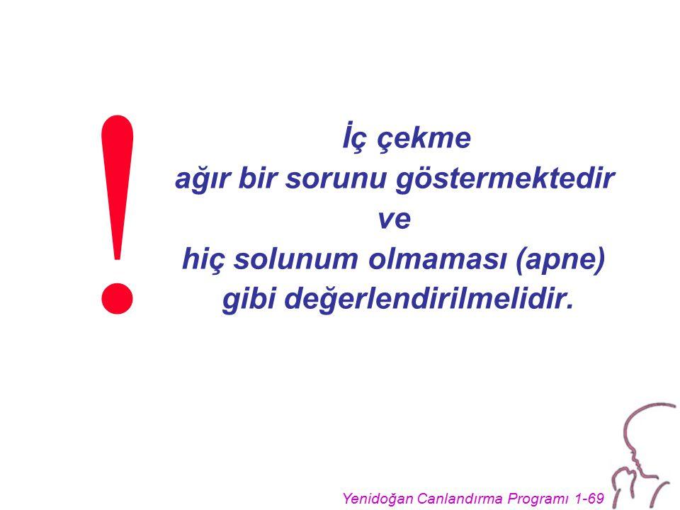 Yenidoğan Canlandırma Programı 1-69 İç çekme ağır bir sorunu göstermektedir ve hiç solunum olmaması (apne) gibi değerlendirilmelidir. !