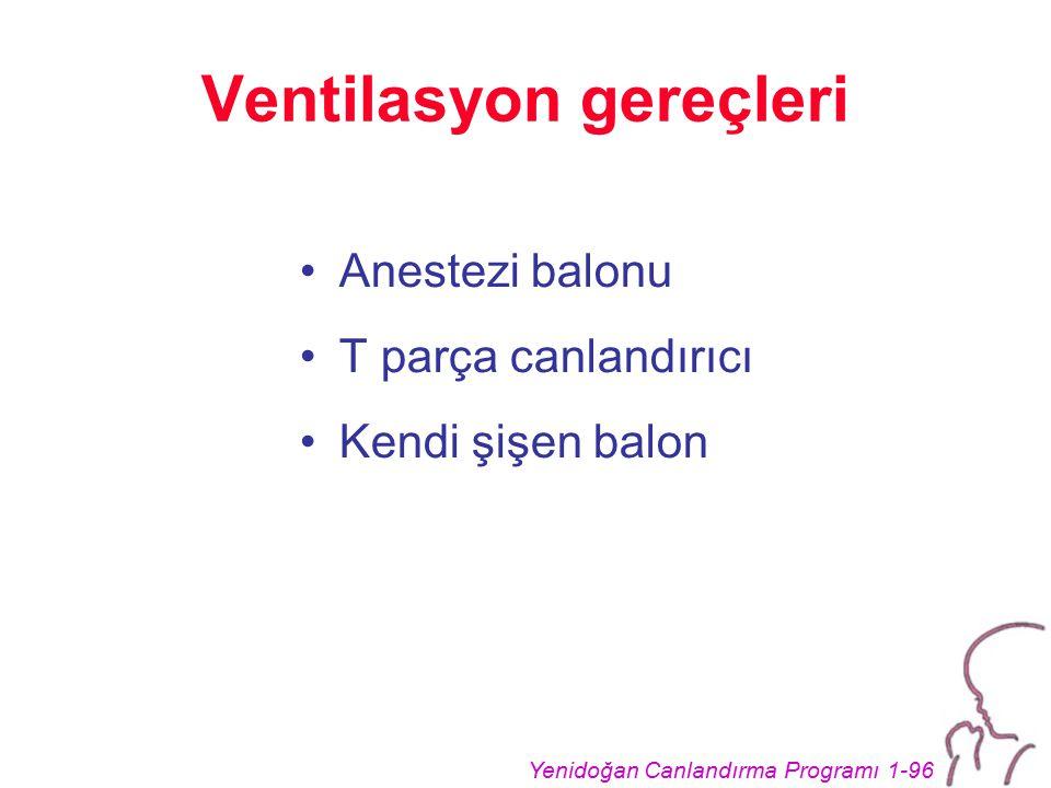Yenidoğan Canlandırma Programı 1-96 Ventilasyon gereçleri Anestezi balonu T parça canlandırıcı Kendi şişen balon