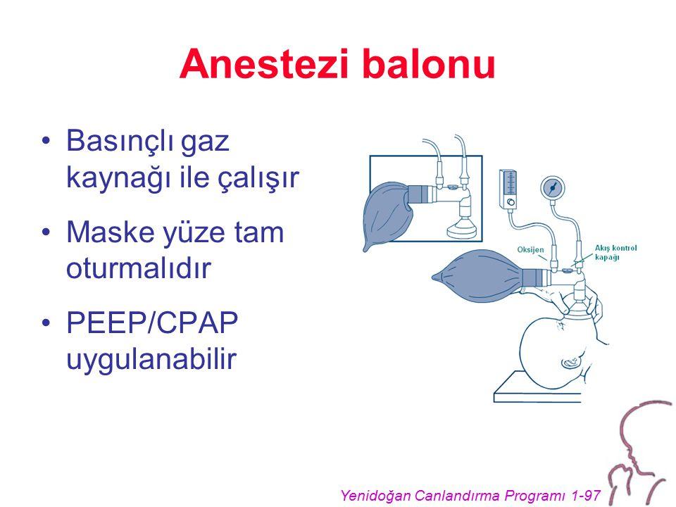 Yenidoğan Canlandırma Programı 1-97 Anestezi balonu Basınçlı gaz kaynağı ile çalışır Maske yüze tam oturmalıdır PEEP/CPAP uygulanabilir