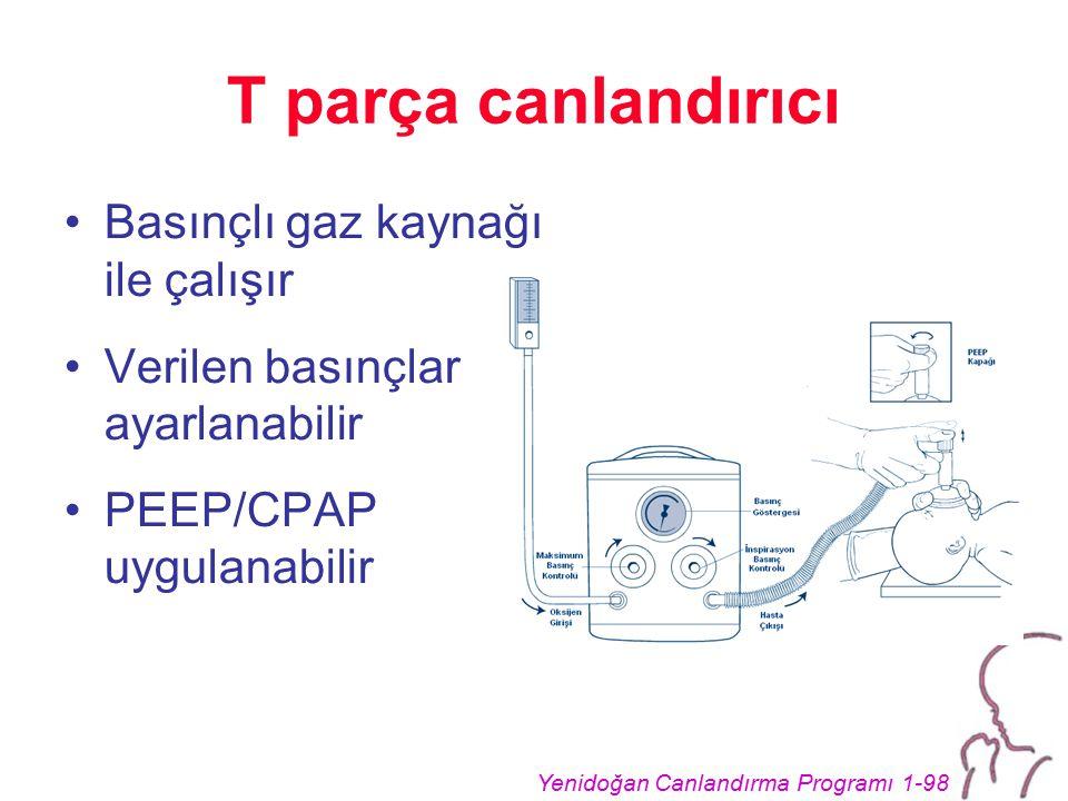 Yenidoğan Canlandırma Programı 1-98 T parça canlandırıcı Basınçlı gaz kaynağı ile çalışır Verilen basınçlar ayarlanabilir PEEP/CPAP uygulanabilir