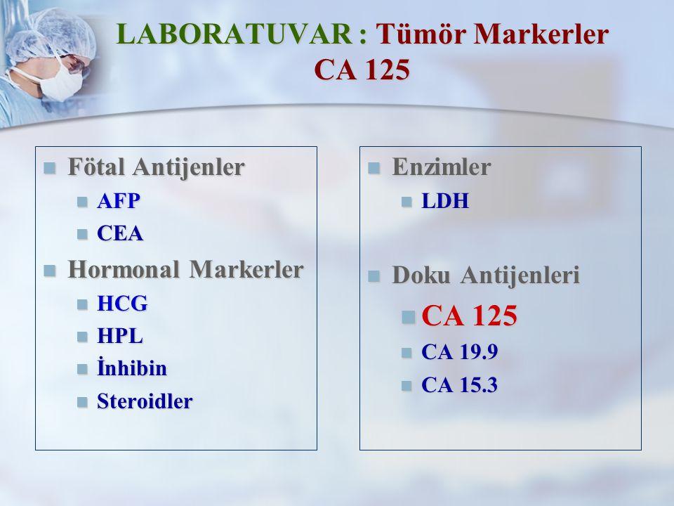 LABORATUVAR : Tümör Markerler CA 125 Fötal Antijenler Fötal Antijenler AFP AFP CEA CEA Hormonal Markerler Hormonal Markerler HCG HCG HPL HPL İnhibin İnhibin Steroidler Steroidler Enzimler LDH Doku Antijenleri CA 125 CA 19.9 CA 15.3