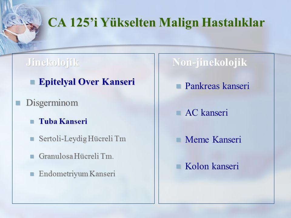 CA 125'i Yükselten Malign Hastalıklar Jinekolojik Jinekolojik Epitelyal Over Kanseri Epitelyal Over Kanseri Disgerminom Disgerminom Tuba Kanseri Tuba Kanseri Sertoli-Leydig Hücreli Tm Sertoli-Leydig Hücreli Tm Granulosa Hücreli Tm.
