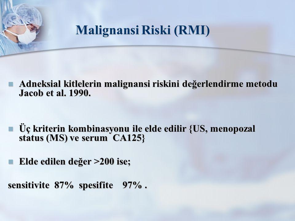 Malignansi Riski (RMI) Adneksial kitlelerin malignansi riskini değerlendirme metodu Jacob et al.