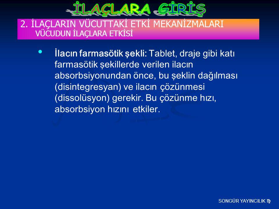 SONGÜR YAYINCILIK  2. İLAÇLARIN VÜCUTTAKİ ETKİ MEKANİZMALARI VÜCUDUN İLAÇLARA ETKİSİ İlacın farmasötik şekli: Tablet, draje gibi katı farmasötik şeki