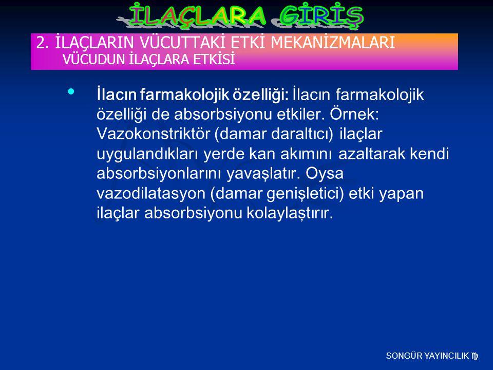 SONGÜR YAYINCILIK  2. İLAÇLARIN VÜCUTTAKİ ETKİ MEKANİZMALARI VÜCUDUN İLAÇLARA ETKİSİ İlacın farmakolojik özelliği: İlacın farmakolojik özelliği de ab