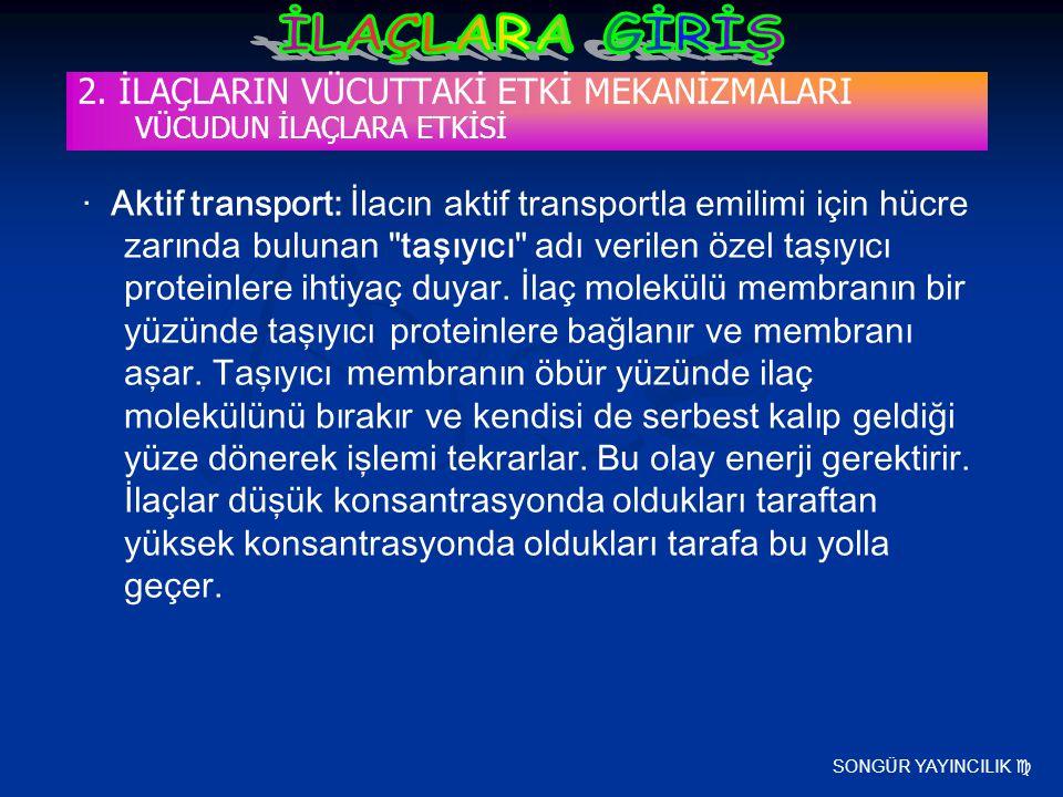 SONGÜR YAYINCILIK  2. İLAÇLARIN VÜCUTTAKİ ETKİ MEKANİZMALARI VÜCUDUN İLAÇLARA ETKİSİ · Aktif transport: İlacın aktif transportla emilimi için hücre z