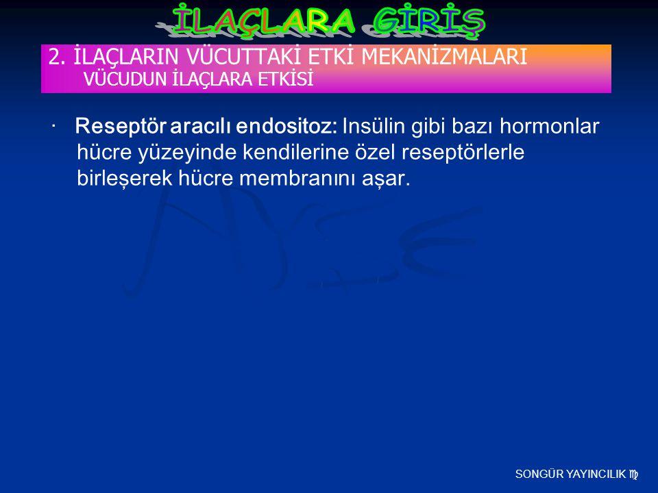 SONGÜR YAYINCILIK  2. İLAÇLARIN VÜCUTTAKİ ETKİ MEKANİZMALARI VÜCUDUN İLAÇLARA ETKİSİ · Reseptör aracılı endositoz: Insülin gibi bazı hormonlar hücre