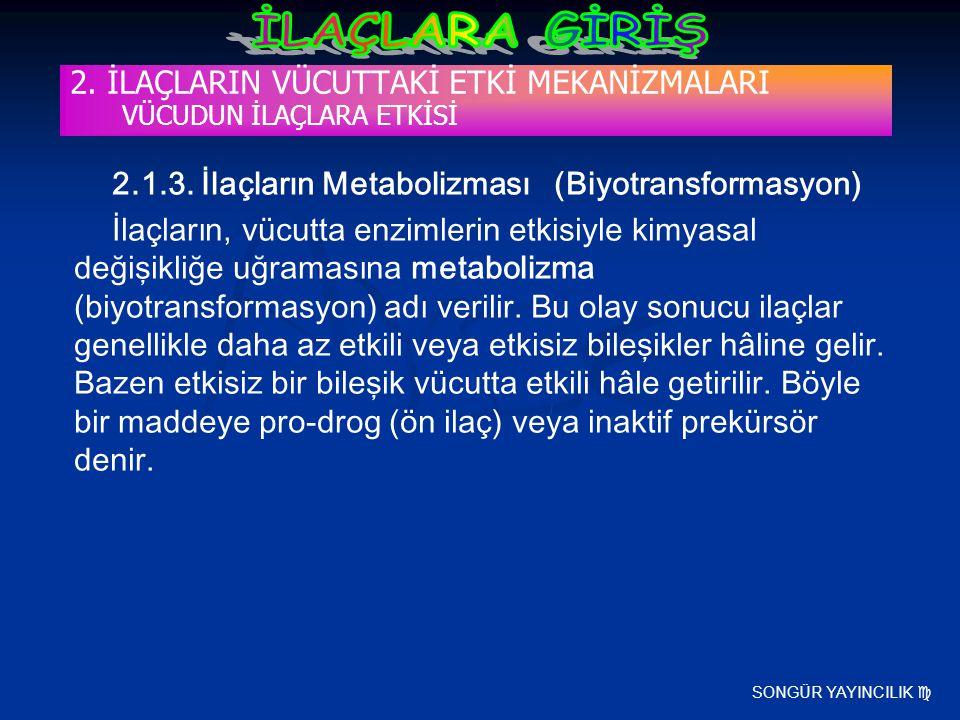 SONGÜR YAYINCILIK  2. İLAÇLARIN VÜCUTTAKİ ETKİ MEKANİZMALARI VÜCUDUN İLAÇLARA ETKİSİ 2.1.3. İlaçların Metabolizması (Biyotransformasyon) İlaçların, v