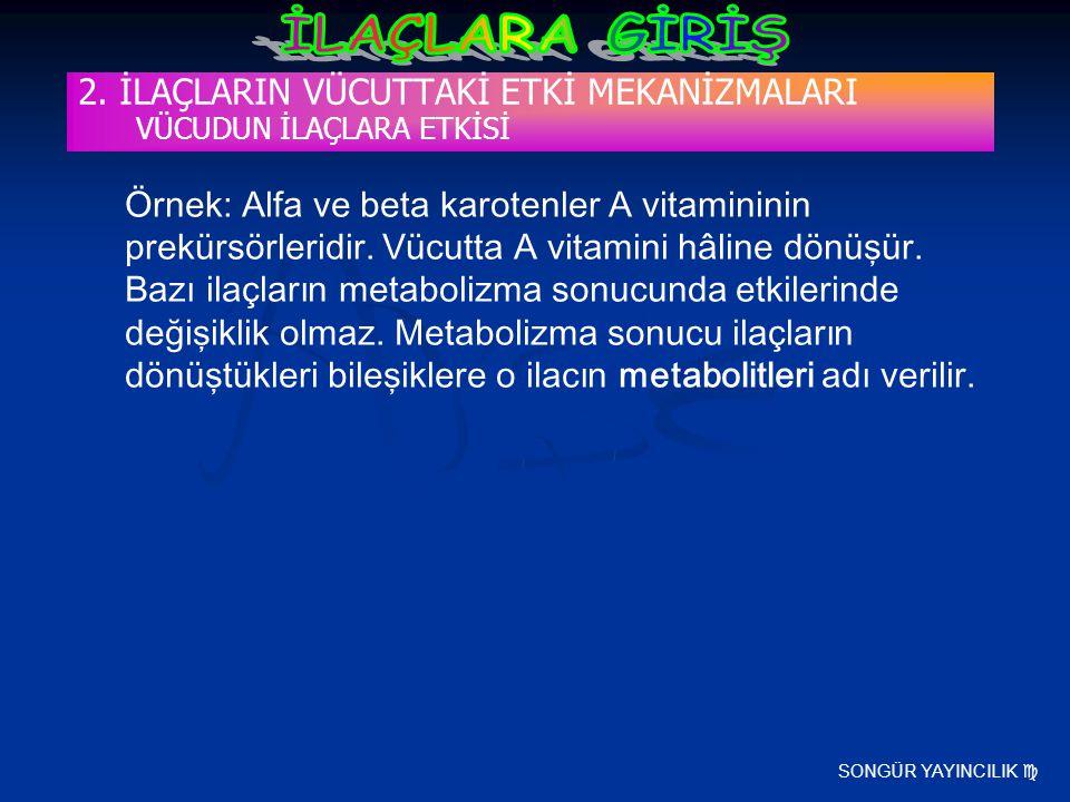SONGÜR YAYINCILIK  2. İLAÇLARIN VÜCUTTAKİ ETKİ MEKANİZMALARI VÜCUDUN İLAÇLARA ETKİSİ Örnek: Alfa ve beta karotenler A vitamininin prekürsörleridir. V