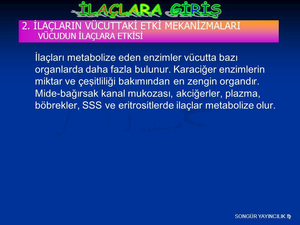 SONGÜR YAYINCILIK  2. İLAÇLARIN VÜCUTTAKİ ETKİ MEKANİZMALARI VÜCUDUN İLAÇLARA ETKİSİ İlaçları metabolize eden enzimler vücutta bazı organlarda daha f