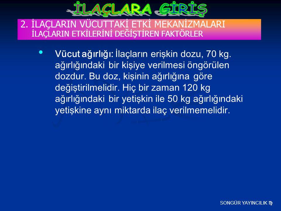 SONGÜR YAYINCILIK  2. İLAÇLARIN VÜCUTTAKİ ETKİ MEKANİZMALARI İLAÇLARIN ETKİLERİNİ DEĞİŞTİREN FAKTÖRLER Vücut ağırlığı: İlaçların erişkin dozu, 70 kg.