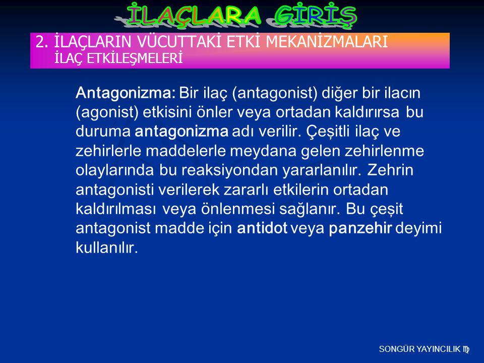 SONGÜR YAYINCILIK  2. İLAÇLARIN VÜCUTTAKİ ETKİ MEKANİZMALARI İLAÇ ETKİLEŞMELERİ Antagonizma: Bir ilaç (antagonist) diğer bir ilacın (agonist) etkisin
