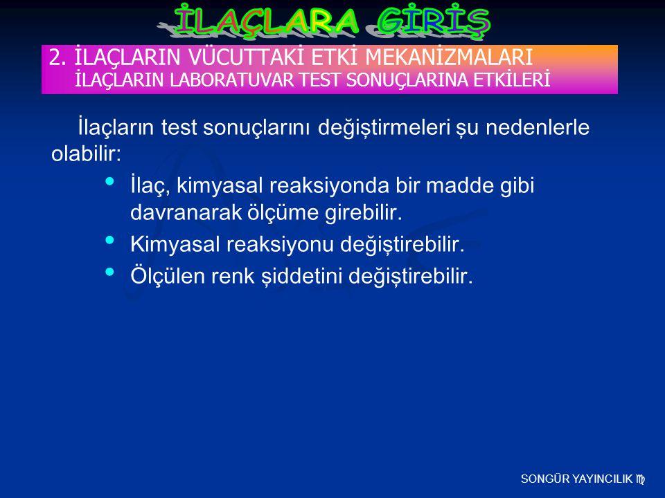 SONGÜR YAYINCILIK  2. İLAÇLARIN VÜCUTTAKİ ETKİ MEKANİZMALARI İLAÇLARIN LABORATUVAR TEST SONUÇLARINA ETKİLERİ İlaçların test sonuçlarını değiştirmeler