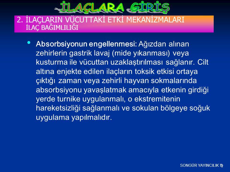 SONGÜR YAYINCILIK  2. İLAÇLARIN VÜCUTTAKİ ETKİ MEKANİZMALARI İLAÇ BAĞIMLILIĞI Absorbsiyonun engellenmesi: Ağızdan alınan zehirlerin gastrik lavaj (mi