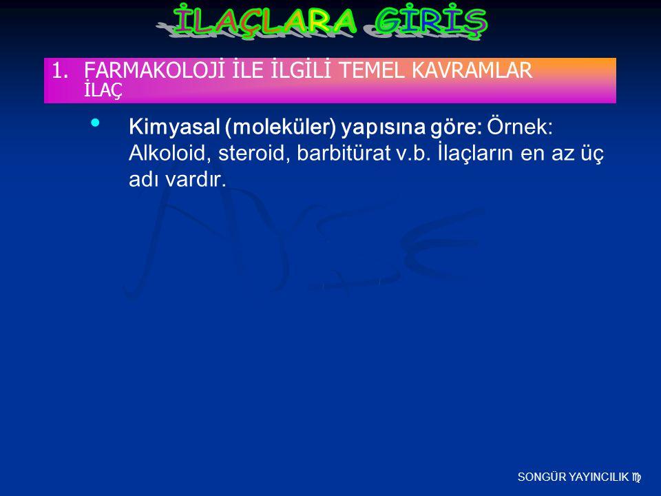 SONGÜR YAYINCILIK  Kimyasal (moleküler) yapısına göre: Örnek: Alkoloid, steroid, barbitürat v.b. İlaçların en az üç adı vardır. 1.FARMAKOLOJİ İLE İLG